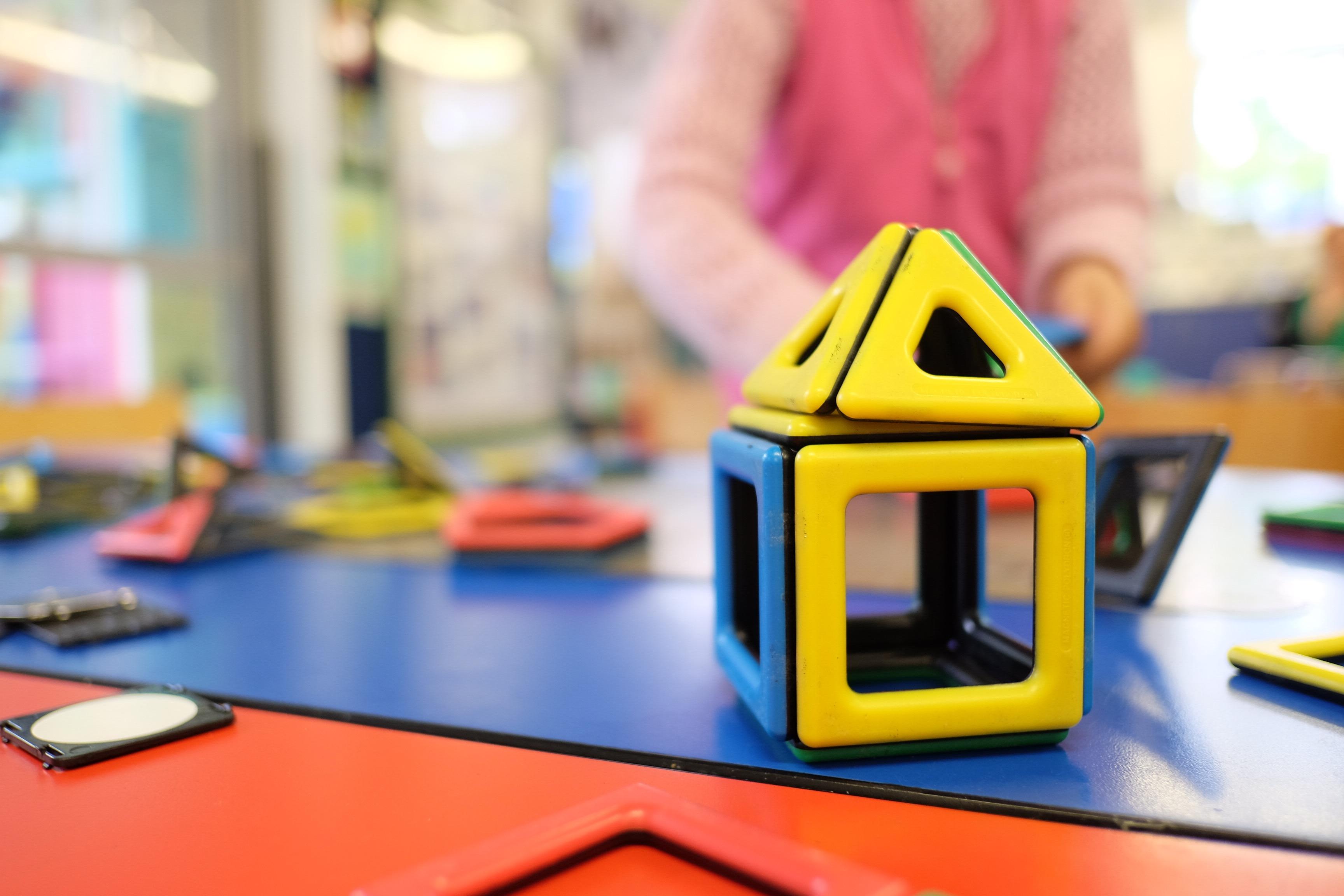 Childcare centre house building blocks table